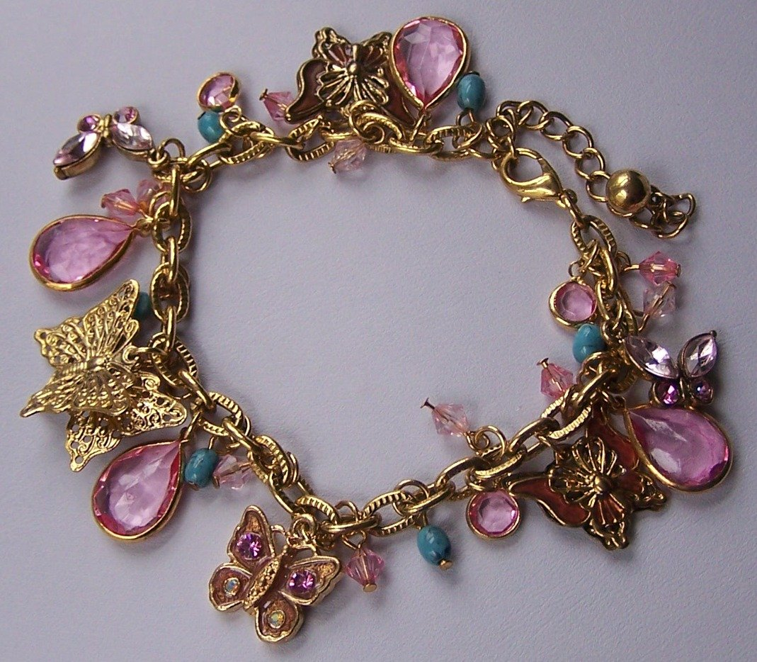 Spring Pink Butterfly Blue Bead Charm Gold Tone Bracelet