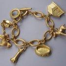 Gold Tone Bone Puppy Dog Animal Lover House Collar Charm Bracelet