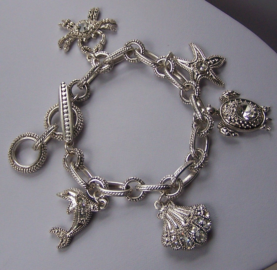 Silver Tone Clear Crystal Dolphin Sea Shell Turtle Star Fish Starfish Crab Charm Bracelet