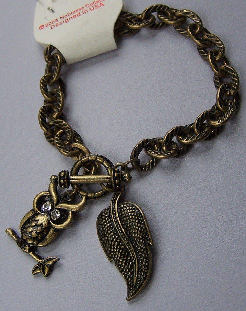 Burnished Gold Tone Clear Crystal Leaf Fall Wise Owl Charm Bracelet