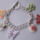 Multicolor Spring Flower Butterfly Charm Pink Bracelet