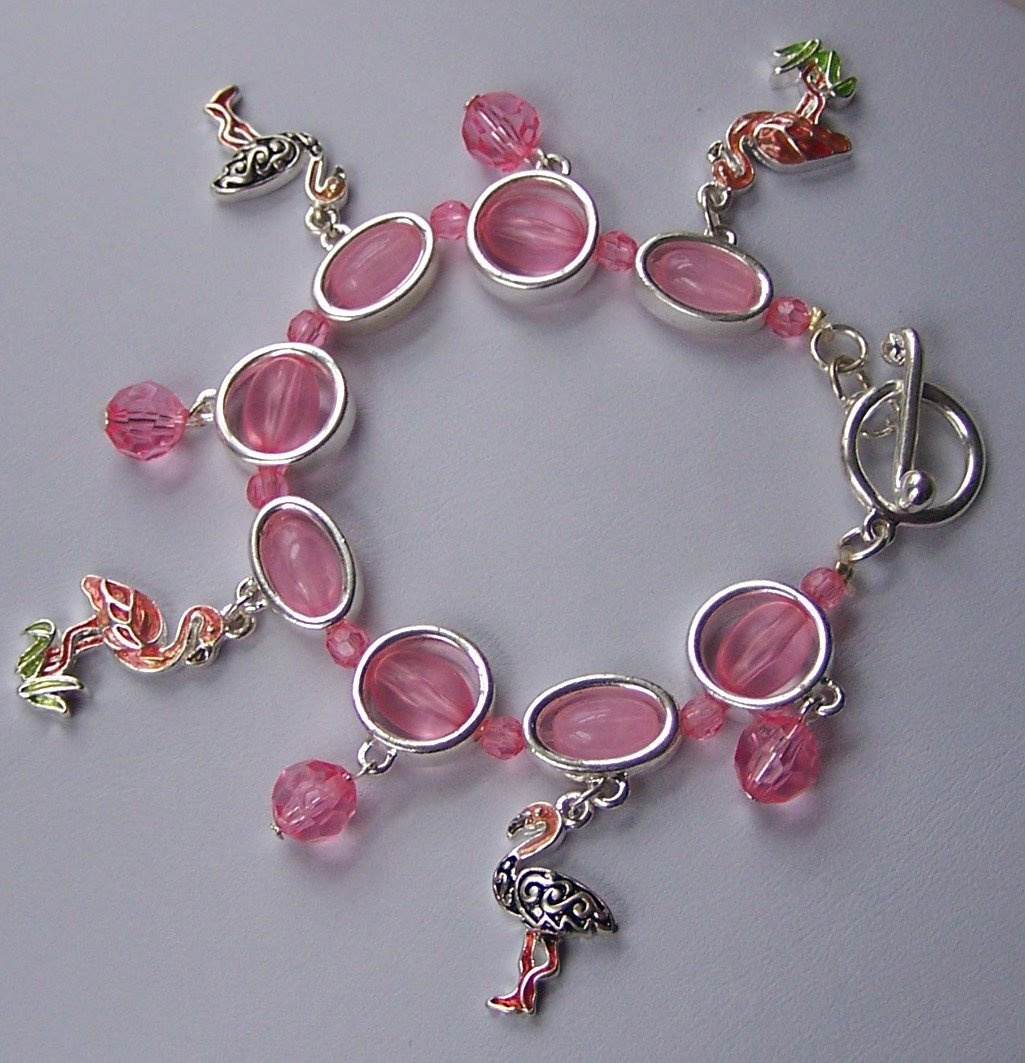 Pink Flamingo Bird Bead Charm Bracelet