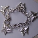 Spring Butterfly Textured Charm Bracelet