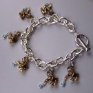 Brown Blue Puppy Dog Animal Lover Charm Bracelet