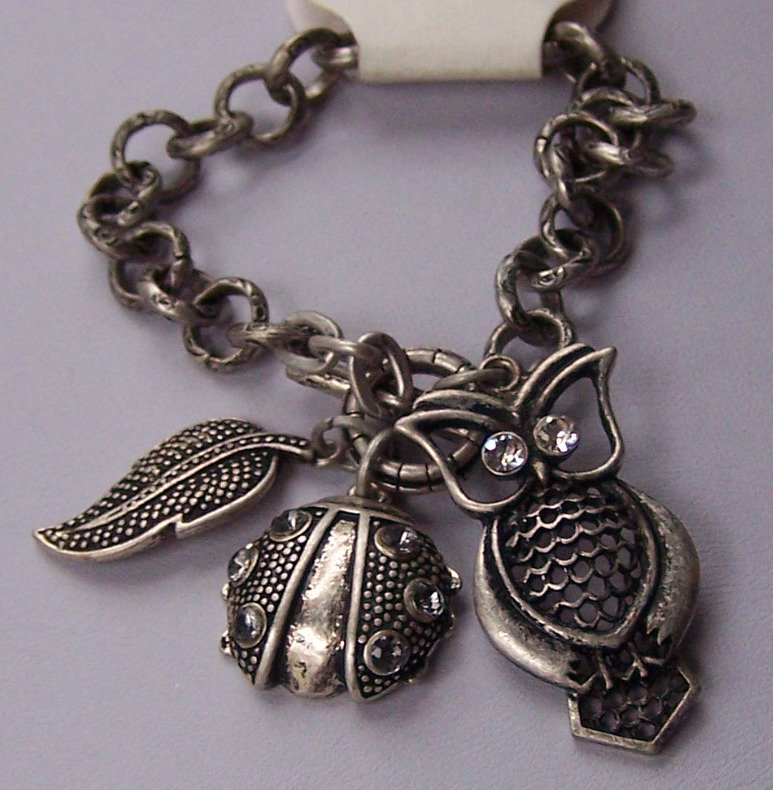 Burnished Silver Tone Clear Crystal Beetle Leaf Fall Wise Owl Charm Bracelet