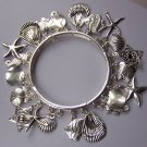 Silver Tone Star Fish Starfish Sea horse Shell Sand Dollar Charm Bracelet
