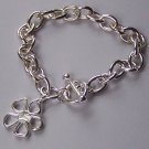 Silver Tone Flower Charm Bracelet