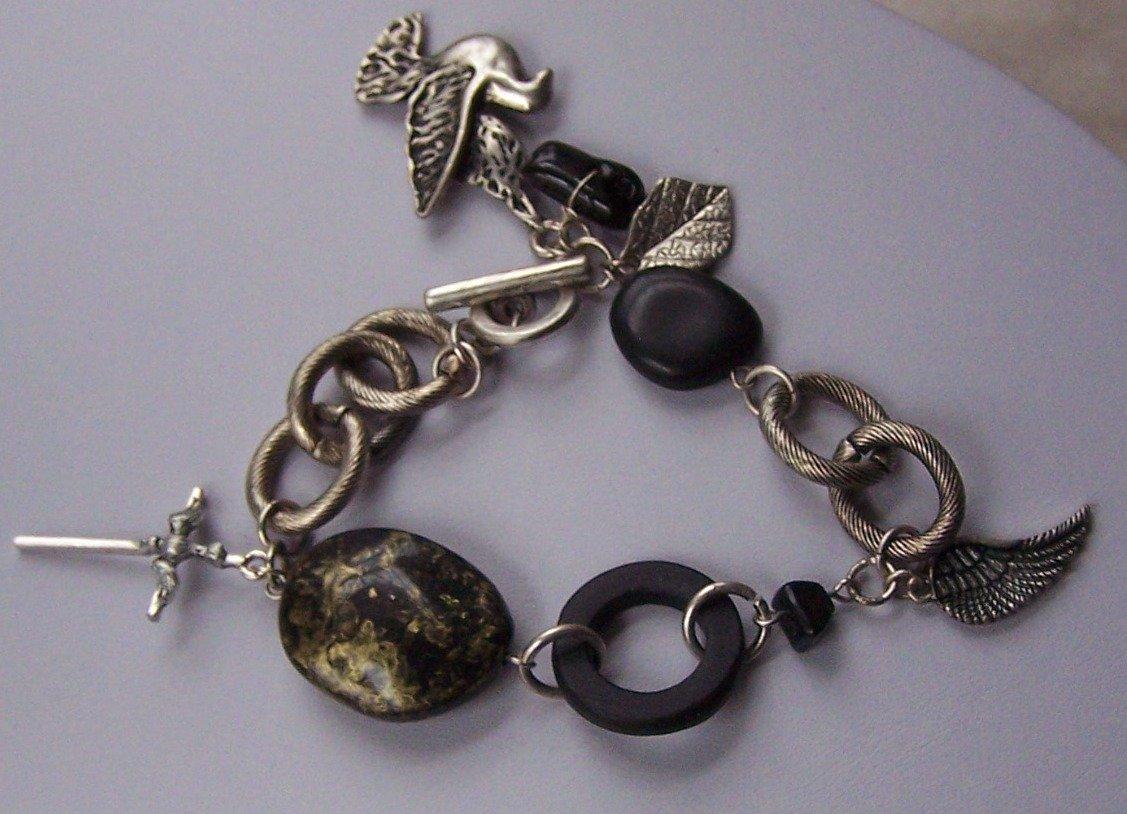 Silver Tone Cross Bird Angel Wing Charm Bracelet