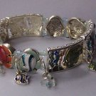 Panoramic Tropical Multicolor Fish Charm Bracelet