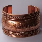 Wide Copper Tone Tribal Bangle Bracelet