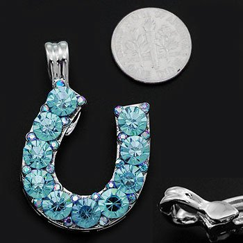 Chunky Blue Crystal Western Horse Horseshoe Pendant