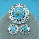 Blue Green Southwestern South Western Cowgirl Rodeo Concho Brooch Necklace Pendant Set