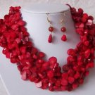 CHUNKY RED SIAM GENUINE TURQUOISE NATURAL GEMSTONE NECKLACE SET