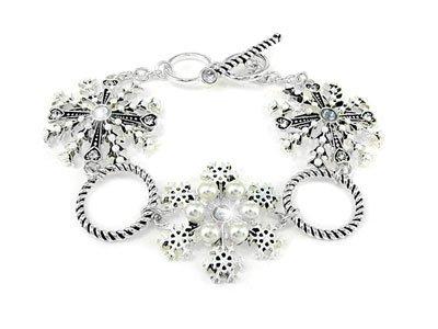 White Silver Christmas Snowflake Toggle Bracelet