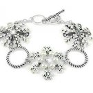 White Silver Christmas Snowflake Toggle Bracelet