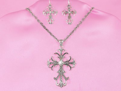 Religious Clear Cross Necklace Set