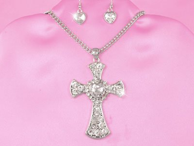 Religious Clear Cross Heart Necklace Set