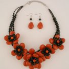 Red Black Flower Necklace Set