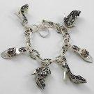 Silver Tone Ladies Shoes Charm Bracelet