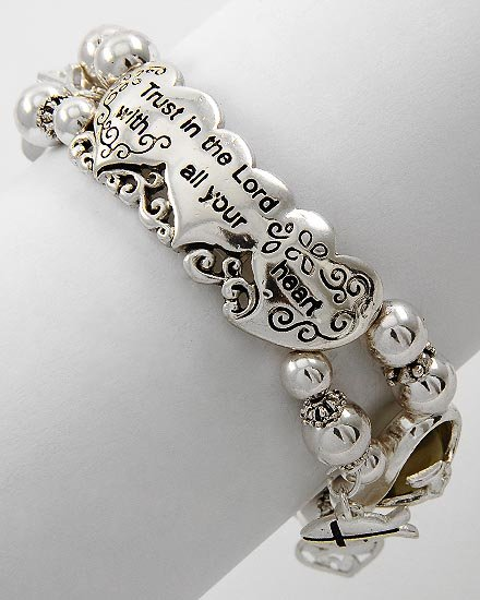 Religious Christian Proverbs 3:5 Trust in the Lord Silver Tone Bangle Bracelet