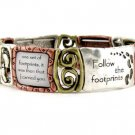Religious Tri Tone Footprint Bracelet