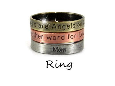 Tri Tone Mothers are Angels on Earth Ring Rings