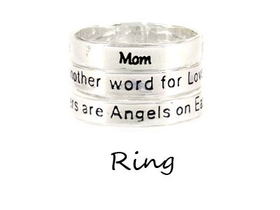 Silver Tone Mothers are Angels on Earth Ring Rings