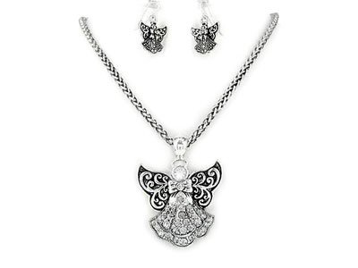 SILVER TONE GUARDIAN ANGEL CRYSTAL NECKLACE SET