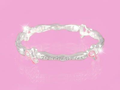 Pink Ribbon Breast Cancer Awareness Crystal Charm Bracelet