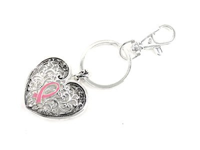 Pink Ribbon Breast Cancer Awareness Filigree Key Keychain
