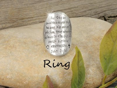 Religious John 3:16 For God So Loved the World Ring