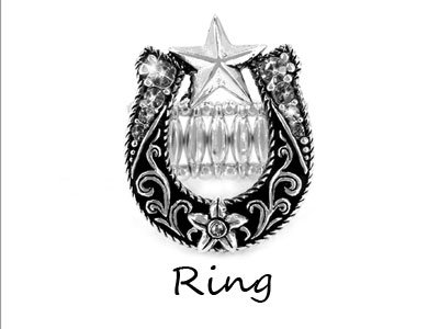 Cowgirl Horseshoe Horse Shoe Star Ring