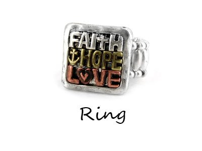 Tri Tone Faith Hope Love Ring
