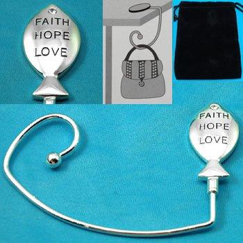 Religious Faith Love Hope Fish Purse Handbag Caddy Holder Hanger