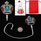 Multicolor Jeweled Crown Purse Handbag Caddy Holder Hanger