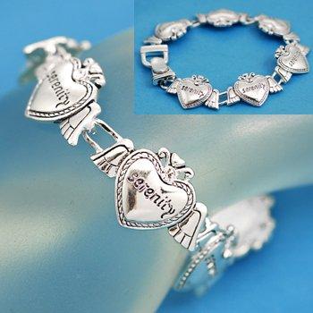 Serenity Prayer Heart Angel Wings Bracelet