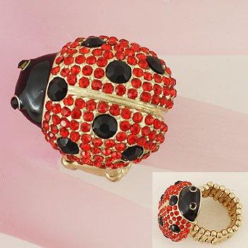 Red Black Gold Tone Ladybug Lady Bug Ring