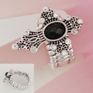 Religious Black Cross Silver Tone Ring
