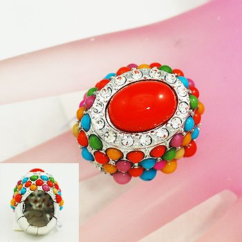 Multicolor Cocktail Silver Tone Ring