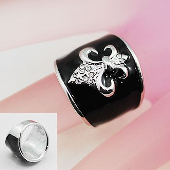 Black Silver Tone French Fleur De Lis Ring Size 6