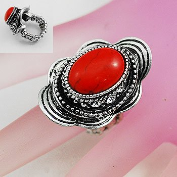 Red Oval Silver Tone Ring Size