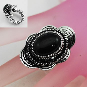 Black Oval Silver Tone Ring Size