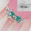 Artistic Blue Dragonfly Dragon Fly Silver Tone Ring