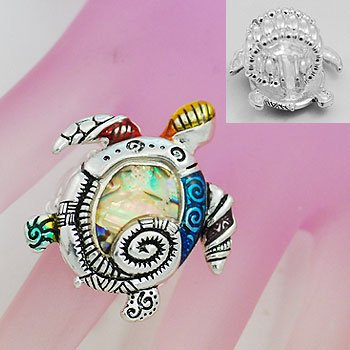 Artistic Abalone Turtle Tortoise Silver Tone Ring