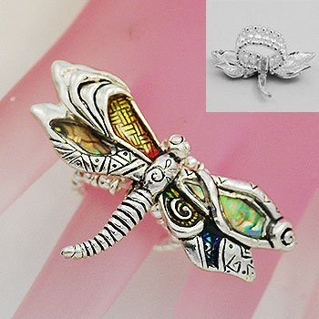 Artistic Abalone Dragon Fly Dragonfly Silver Tone Ring