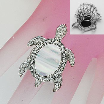Mother of Pearl MOP Turtle Tortoise Silver Tone Ring