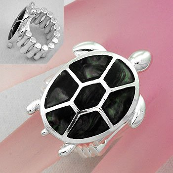 Black Turtle Tortoise Shell In Lay Silver Tone Ring