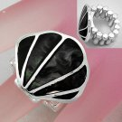 Black Sea Shell In Lay Silver Tone Ring