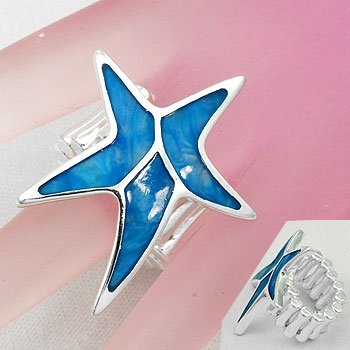 Blue Starfish Star Fish Shell In Lay Silver Tone Ring