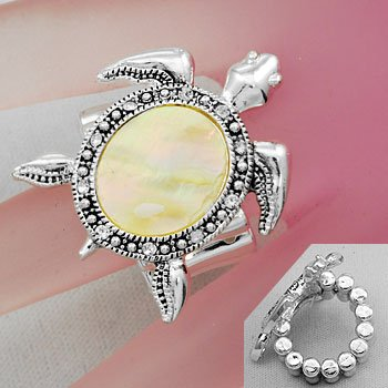 White Turtle Tortoise Shell In Lay MOP Silver Tone Ring